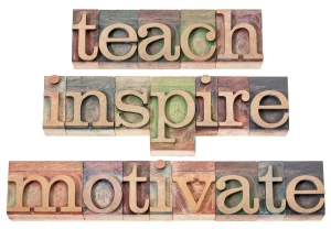 teach, inspire, motivate  - a collage of isolated words in vinta
