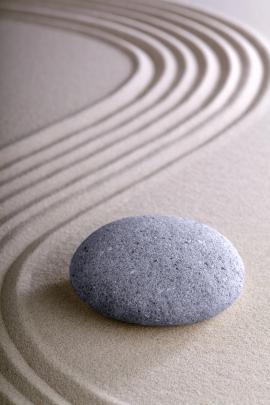 Japanese meditation or zen garden simplicity , calmness and bala